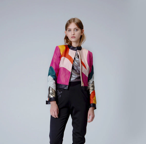 Multi-Colored Leather Jacket