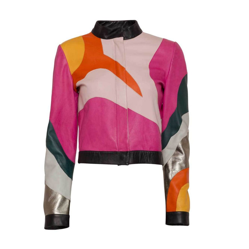 Multi-Colored Leather Biker Jacket