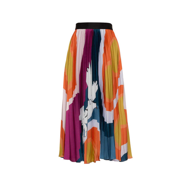 Multi-Colored Pleated Midi Skirt