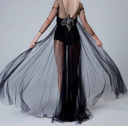 Tulle Bodysuit with Pleated Train