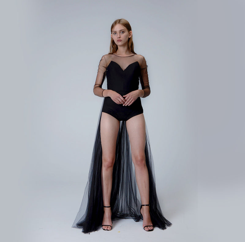 Black Bodysuit with Pleated Train