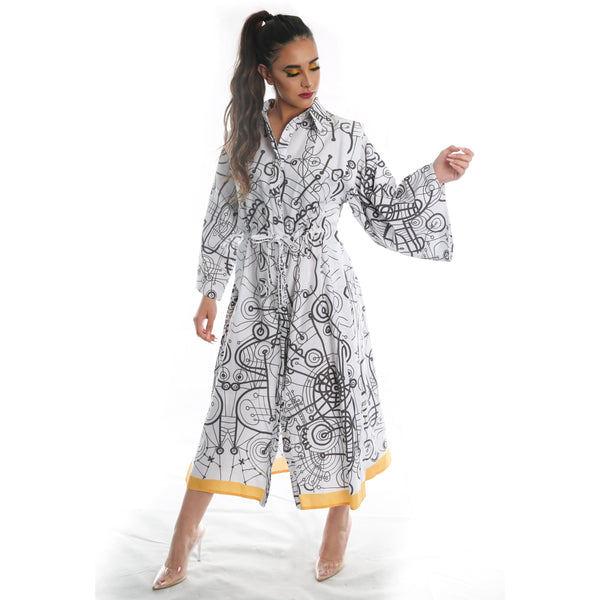 Printed Cotton Midi Shirt Dress