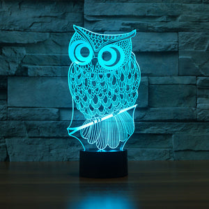 3D Illusion Night Light  LED Light 7 Color with Touch Switch USB Cable Nice Gift Home Office Decorations,Owl-3