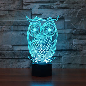 3D Illusion Night Light  LED Light 7 Color with Touch Switch USB Cable Nice Gift Home Office Decorations,Owl-2
