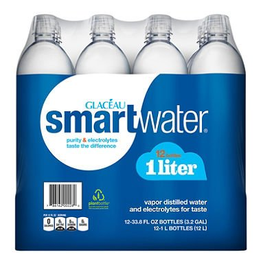 Smart Water, 1 Liter Bottle, 12-pack