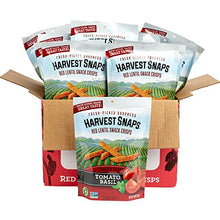Load image into Gallery viewer, Harvest Snaps Red Lentil Snack Crisps, Tomato Basil, deliciously baked and crunchy veggie snacks with plant protein and fiber, 3-Ounce Bag...