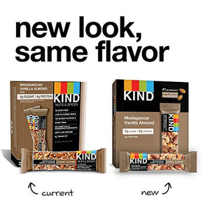 KIND Bars, Madagascar Vanilla Almond, Gluten Free, Low Sugar, 1.4 Ounce Bars, 12 Count (Packaging May Vary):