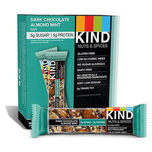 KIND Bars, Dark Chocolate Mint, Gluten Free, Low Sugar, 1.4 Ounce Bars, 12 Count (Packaging May Vary):