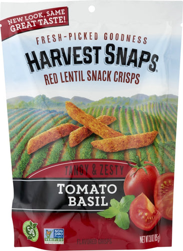 Harvest Snaps Red Lentil Snack Crisps, Tomato Basil, deliciously baked and crunchy veggie snacks with plant protein and fiber, 3-Ounce Bag...
