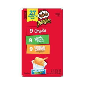 Pringles Snack Stacks Potato Crisps Chips Cup, Flavored Variety Pack, Original, Cheddar Cheese, Sour Cream and Onion, 27 Count