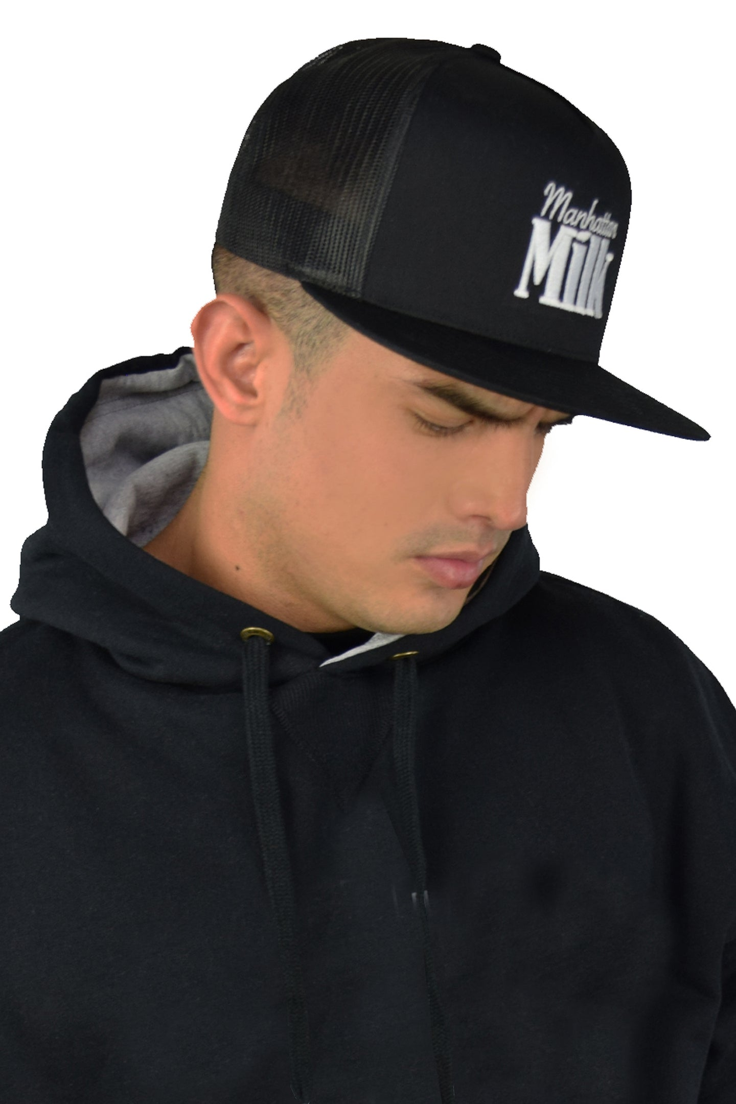 Manhattan Milk Straight Brim Trucker Hat