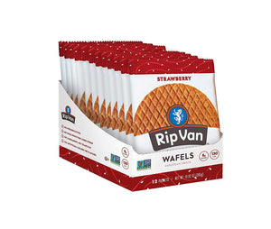 Rip Van Wafels Non-GMO Snack Wafels, Chocolate Brownie, 12 Count, 13.92 OZ, low calorie & low sugar (PACKAGING MAY VARY)