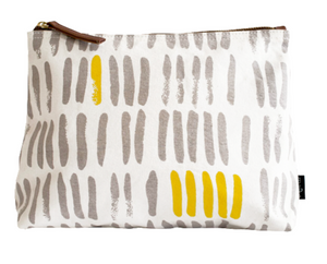 Maika Vertical Strokes Grey Pouch
