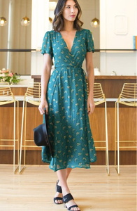 Symbology Ginkgo Leaf Midi Wrap Dress in Emerald + Gold