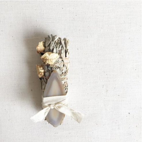 Catherine Rising White Rose + Agate Smudge Stick