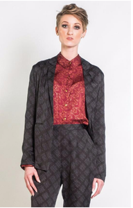 Symbology Silk Blazer in Black & Grey Sketched Plaid