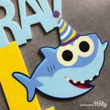 Customised 1st birthday baby shark theme cake topper -  The Party
