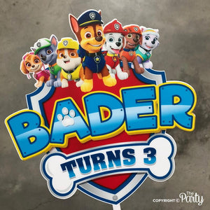 Customised Paw Patrol cake topper -  The Party