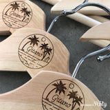 Customised set of 2 adult size engraved wooden hangers -  The Party