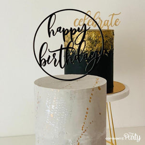 Generic Happy Birthday hoop cake topper -  The Party