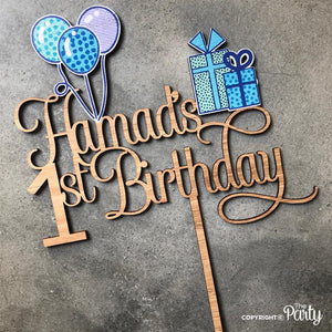 Customised 1st birthday cake topper -  The Party