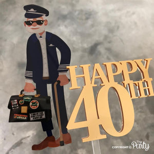 Customised Happy 40th pilot themed cake topper -  The Party