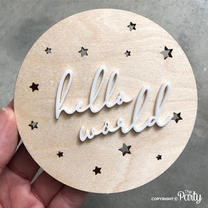 Hello world birth announcement plaque -  The Party