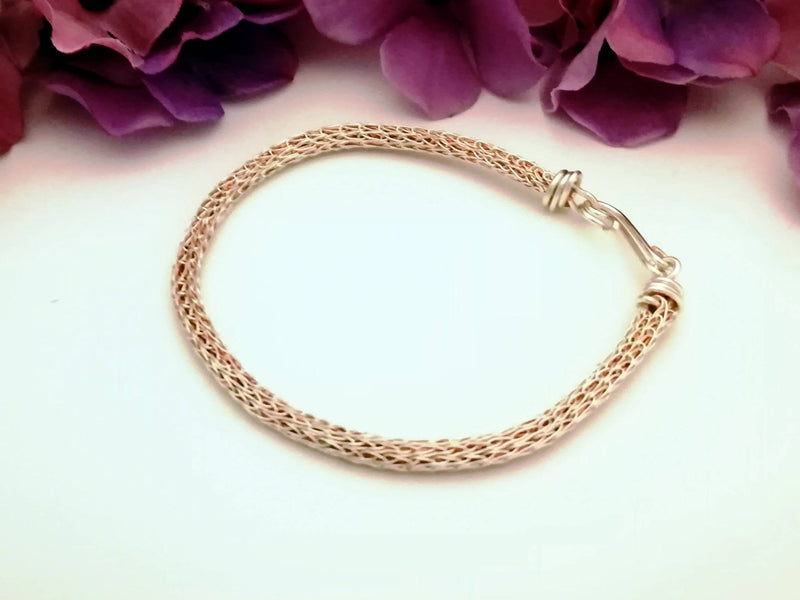 Viking Knit Bracelet - silver and copper