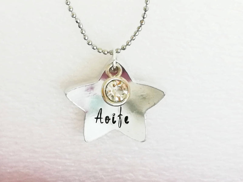 Star domed Pendant with personalization necklace - name and birthstone