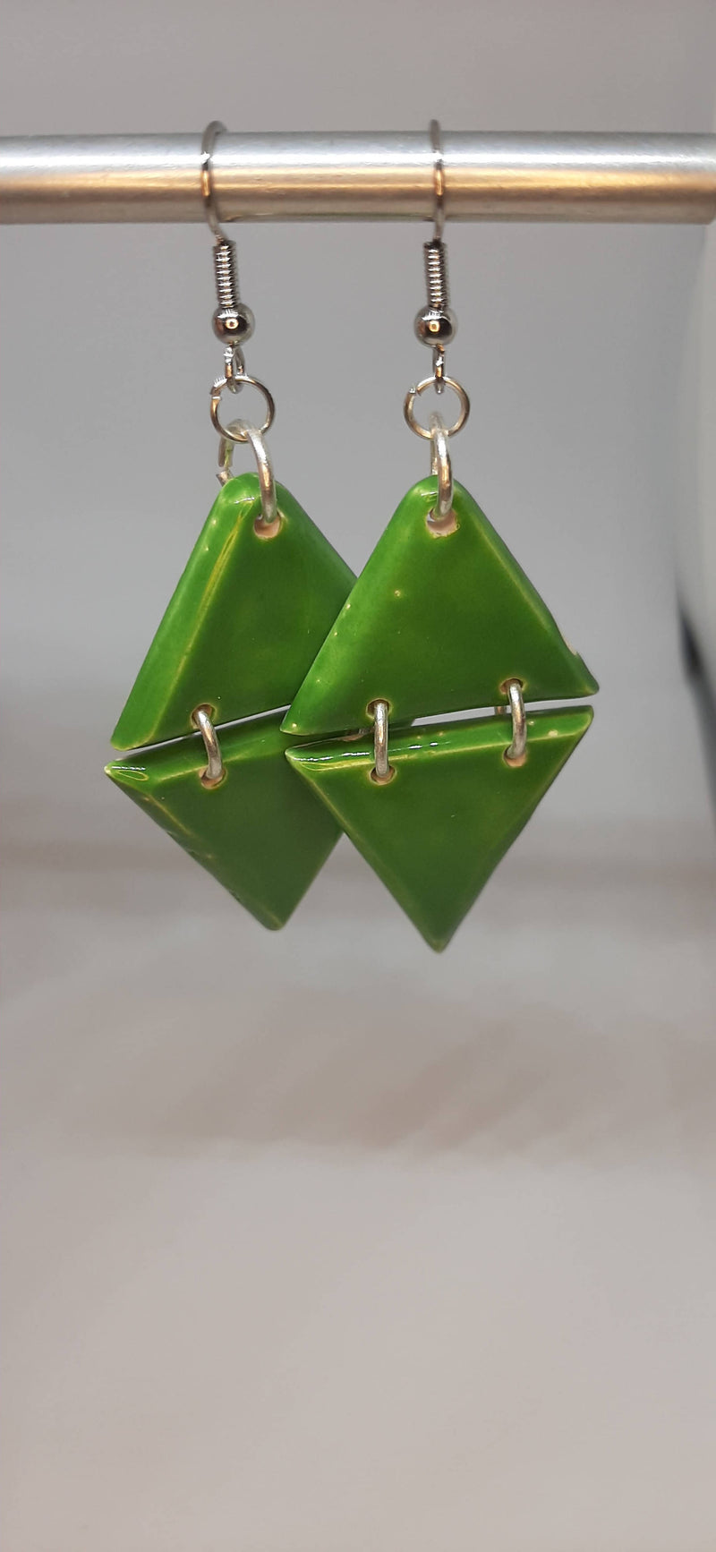 Ceramic Triangle Dangle Earrings