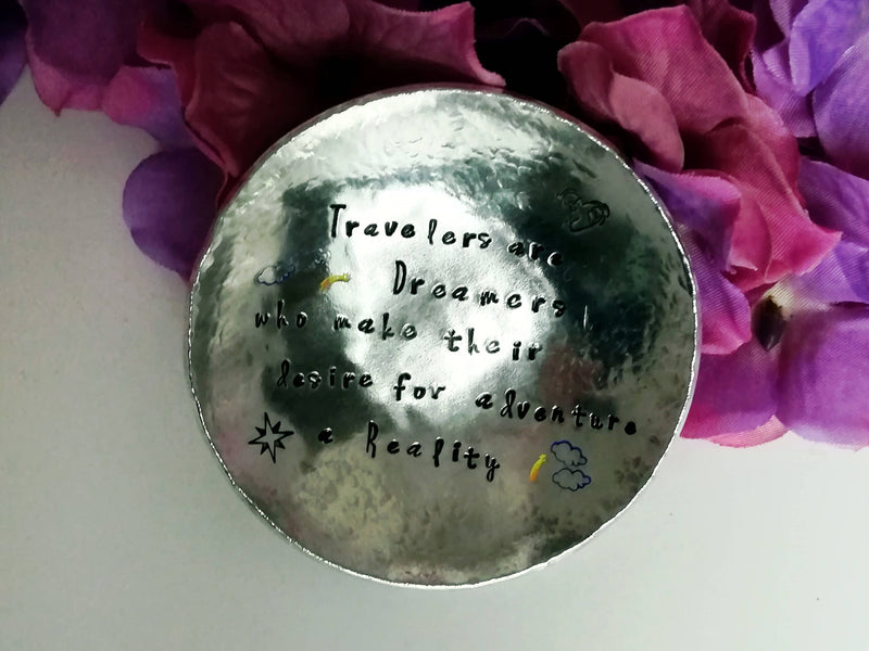 Jewelery Dish - Travelers are Dreamers... - round - medium size - scenery and motive, personalized