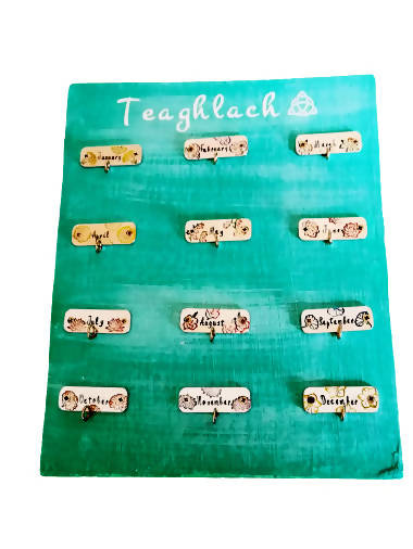 Teaghlach - Wooden Calendar with handstamped plaques and tags - Month Flowers - antique style - personalized