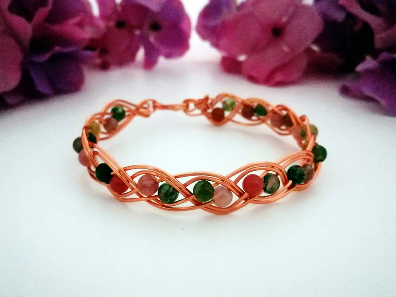 Weave Bracelet with Semi Precious Beads - Copper - Made to Order