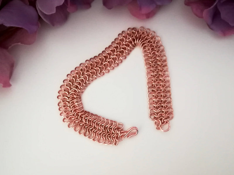 Chainmaille Bracelet - European 4 in 1 Weave - rosegold plated