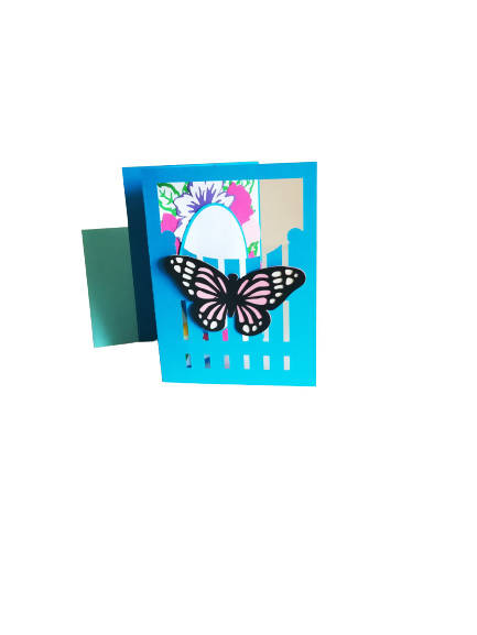 Garden Fence with Butterfly - Greeting Card