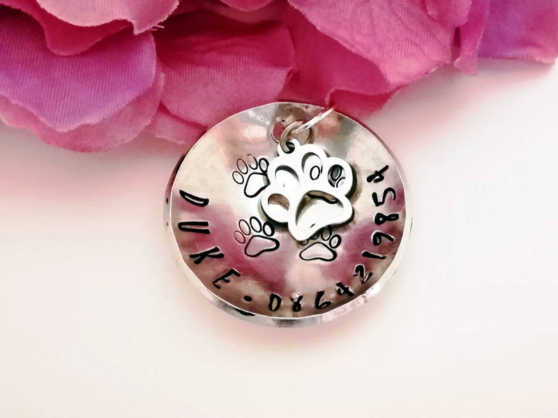 Single Domed Name Tag with Charm - Pet Name Tag