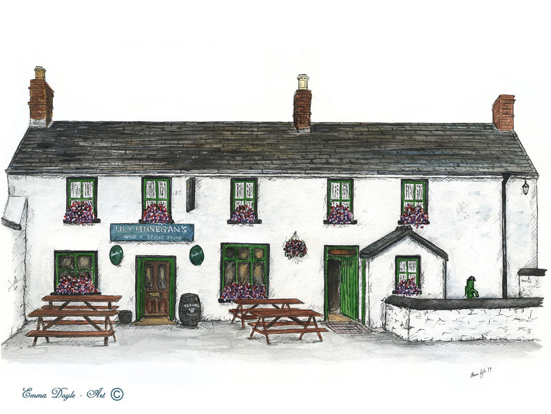 Irish Pub Print -  Lily Finnegan's, Whitestown, Carlingford, Co. Louth, Ireland
