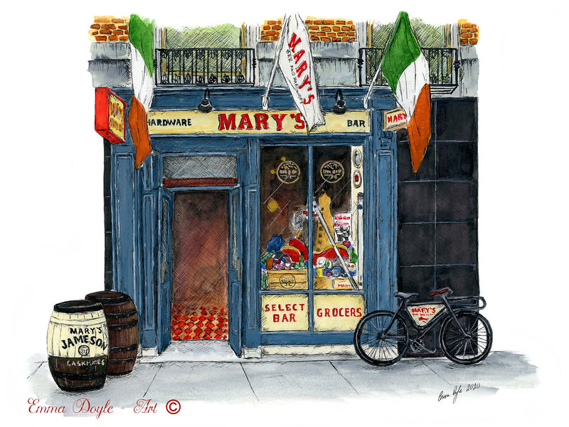 Irish Print - Mary's Bar and Hardware, Dublin, Ireland