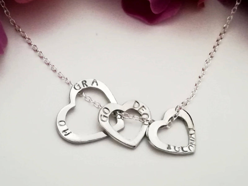"Irish Gaelic ""Always and Forever my Love"" - triple heart charm necklace"