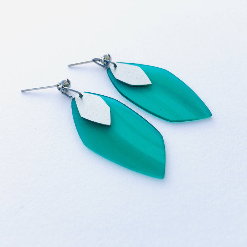 Vinyl and steel earrings