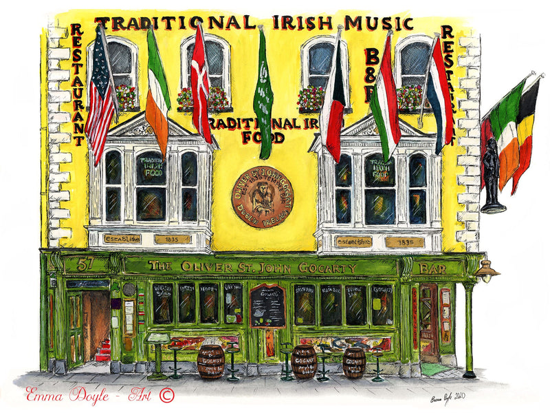 Irish Pub Print - The Oliver St. John Gogarty, Dublin, Ireland