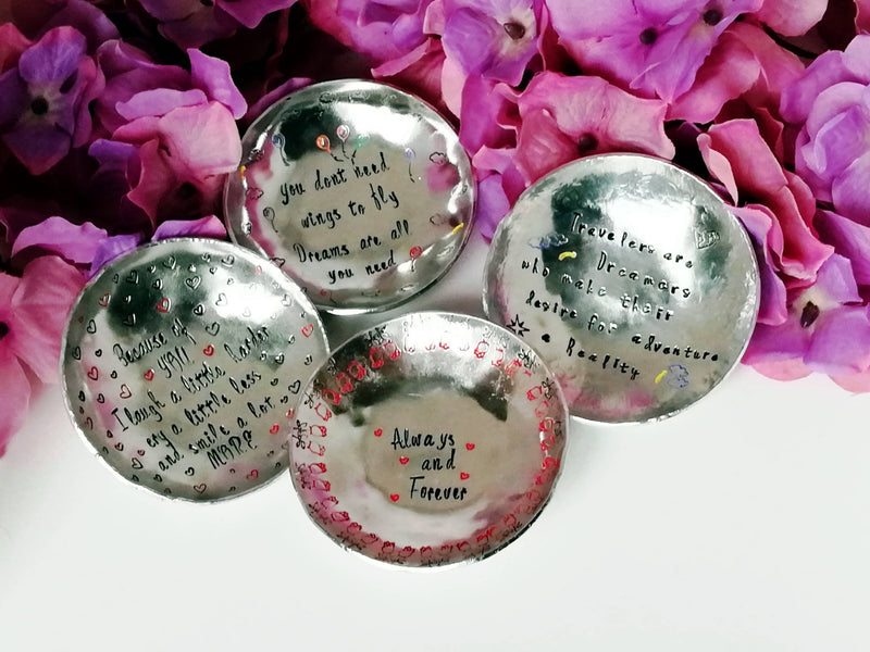 Jewelery Dish - Always and Forever with Roses - round - medium size - scenery and motive, personalized