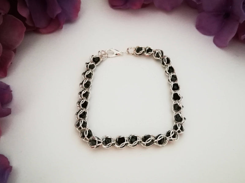 Semi-Precious- Obsidian- Chainmail Bracelet - Made to Order