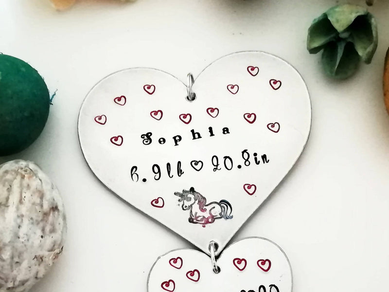 Baby/Birth Memorial Hearts Ornament - Made to Order