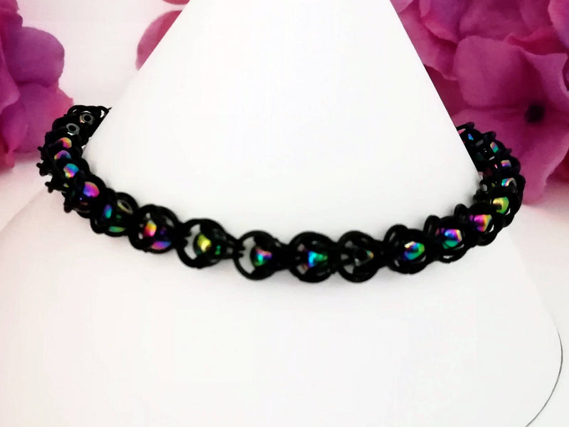 Semi Precious- Electroplated Hematite - Chainmail Bracelet - Made to Order