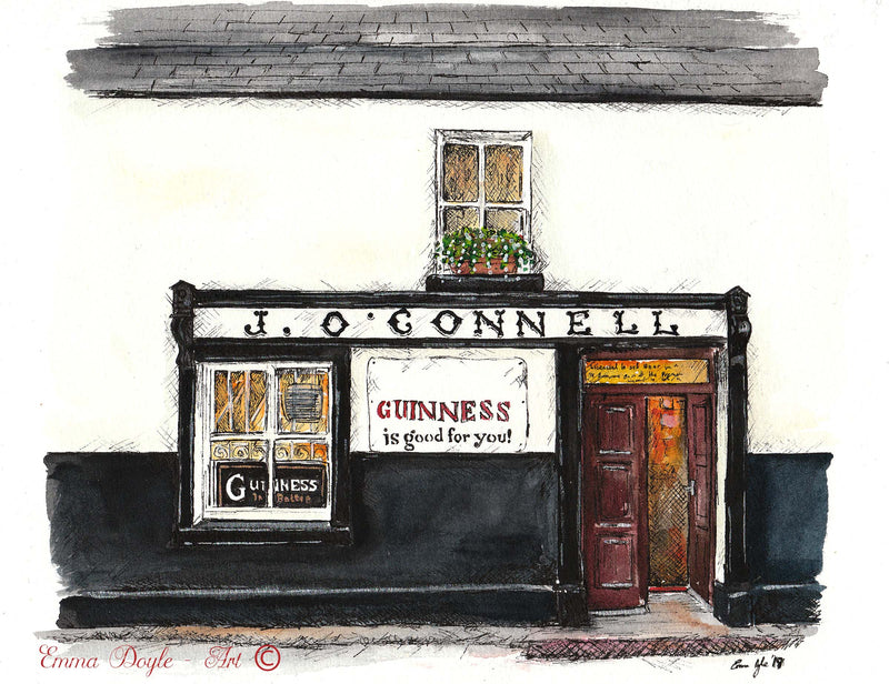 Irish Pub Print - J. O'Connell, Skyrne, Co. Meath, Ireland