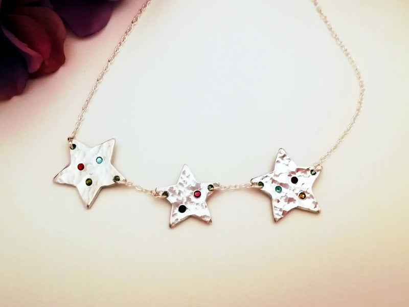 Sparkly Stars Necklace with Earring Set