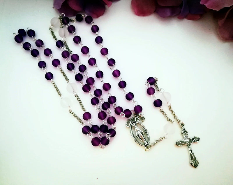 Purple and White Rosary