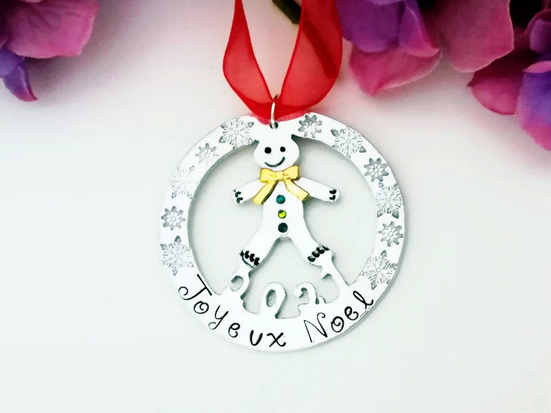 Gingerbread Man- Ornament - handcut and handstamped - personalized