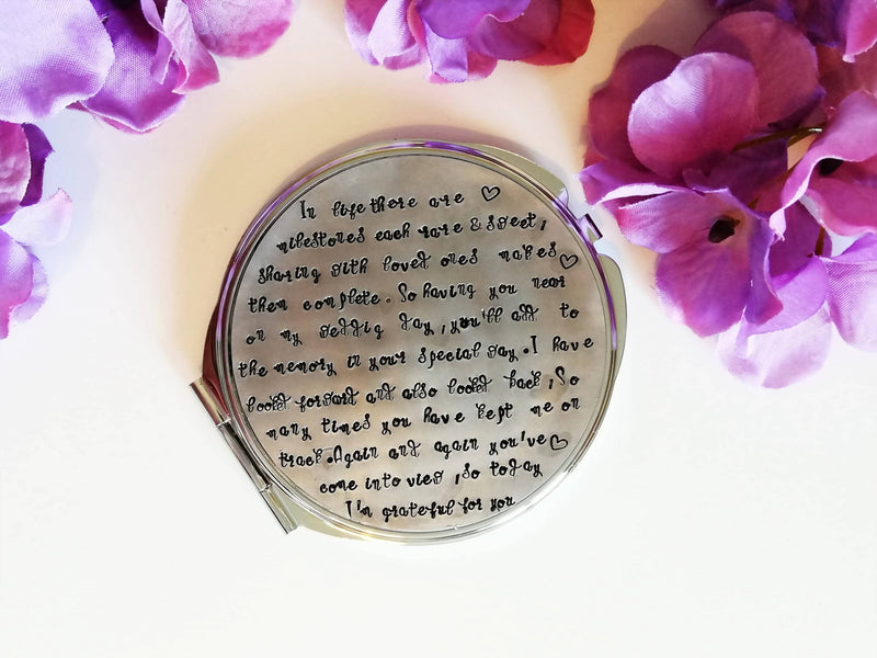 Compact Mirror - Wedding Favour - Bridesmaid,Mother,Mother in Law, Sister